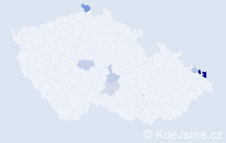 Příjmení: 'Jendryščíková', počet výskytů 26 v celé ČR
