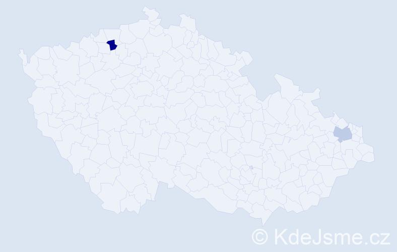 Příjmení: 'Biščo', počet výskytů 2 v celé ČR