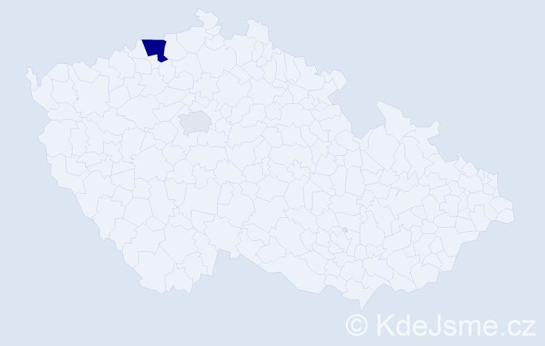 Příjmení: 'Abdulghani', počet výskytů 5 v celé ČR