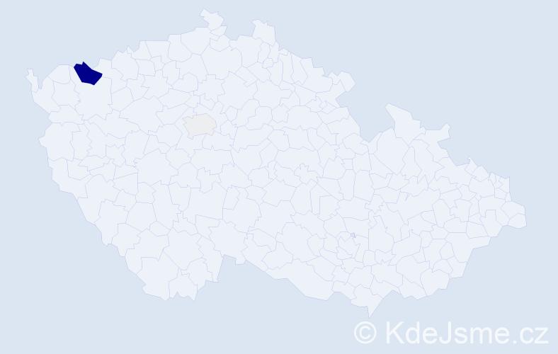 Příjmení: 'Aranyossy', počet výskytů 6 v celé ČR