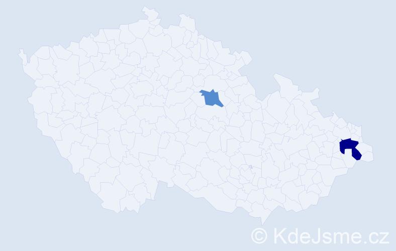 Příjmení: 'Kuriplachová', počet výskytů 3 v celé ČR