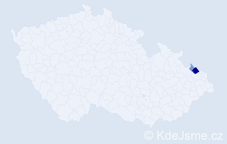 Příjmení: 'Kufková', počet výskytů 7 v celé ČR