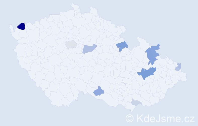 Příjmení: 'Lavrenčík', počet výskytů 29 v celé ČR
