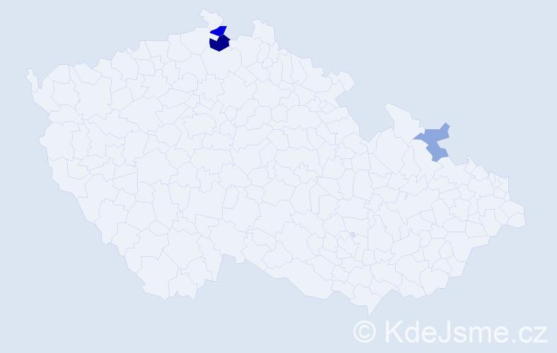 Příjmení: 'Čapičíková', počet výskytů 6 v celé ČR