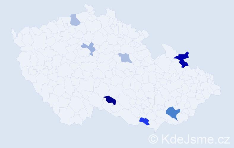 Příjmení: 'Čižková', počet výskytů 12 v celé ČR