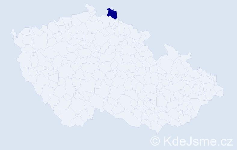 """Příjmení: '""""Kodešová Bubeníčková""""', počet výskytů 1 v celé ČR"""