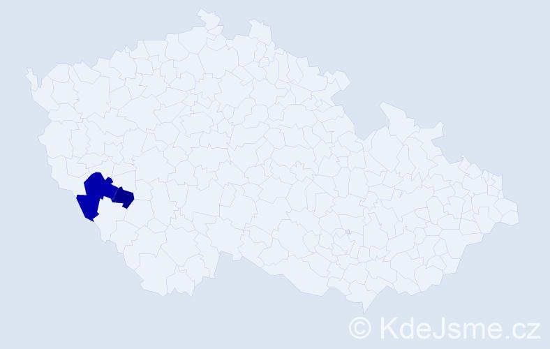 Příjmení: 'Doumel', počet výskytů 5 v celé ČR