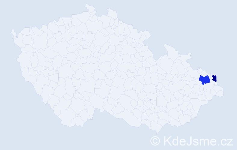 Příjmení: 'Angleta', počet výskytů 3 v celé ČR