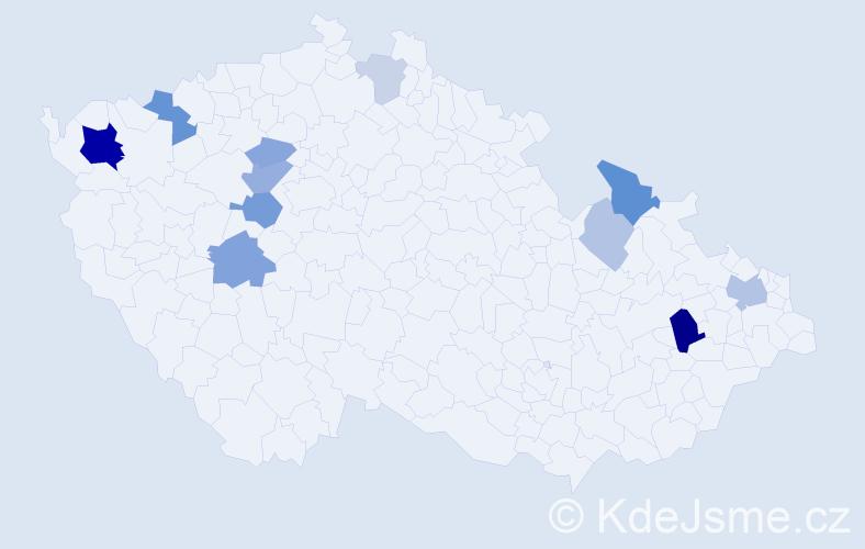 Příjmení: 'Bedečová', počet výskytů 28 v celé ČR