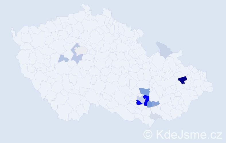 Příjmení: 'Křivonožka', počet výskytů 40 v celé ČR