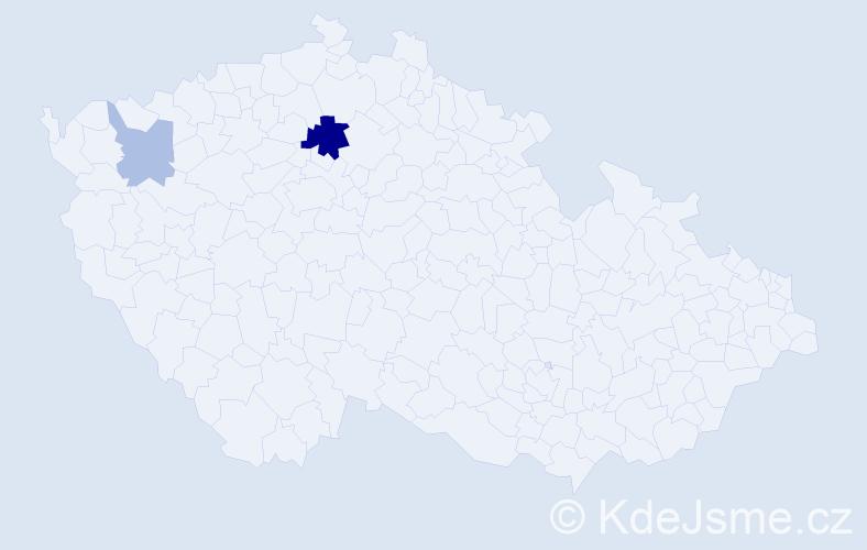 Příjmení: 'Fajdek', počet výskytů 5 v celé ČR