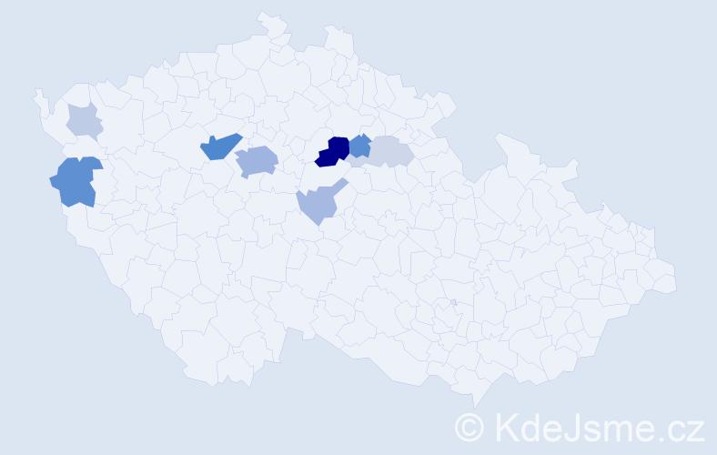 Příjmení: 'Hanilcová', počet výskytů 31 v celé ČR