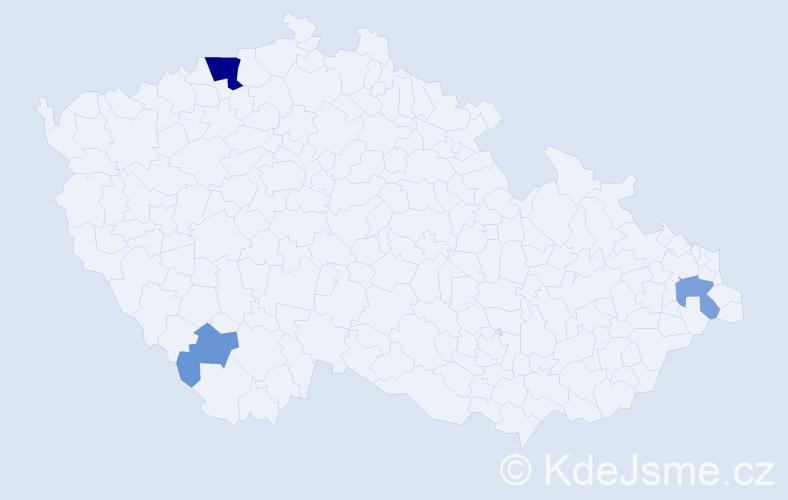 Příjmení: 'Kafan', počet výskytů 10 v celé ČR