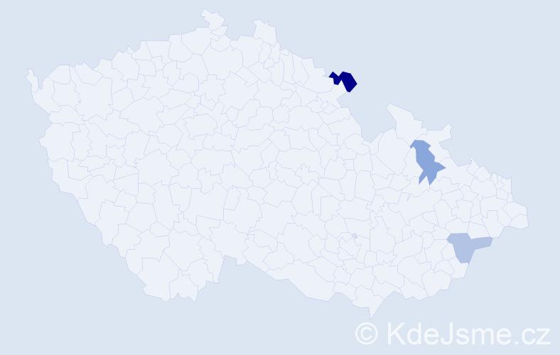 Příjmení: 'Done', počet výskytů 4 v celé ČR
