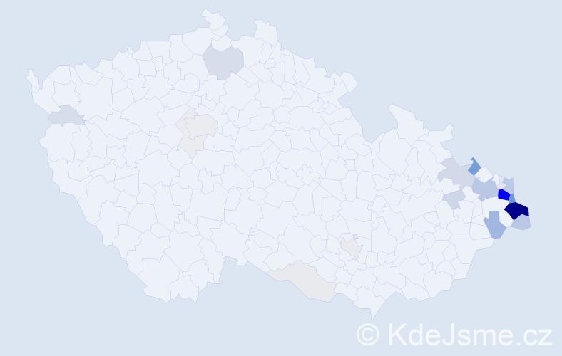 Příjmení: 'Kubiczek', počet výskytů 158 v celé ČR