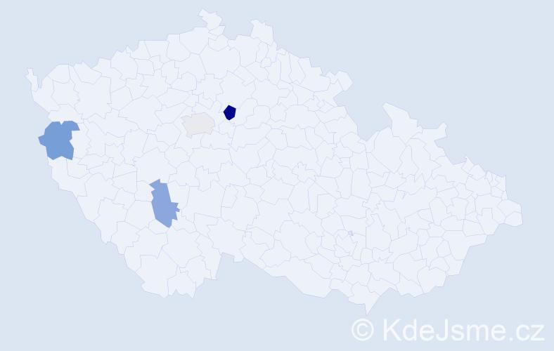 Příjmení: 'Makuš', počet výskytů 5 v celé ČR