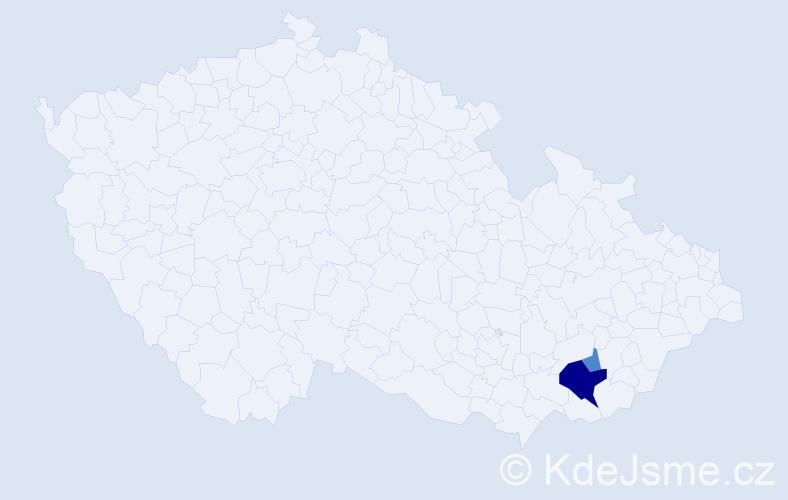 Příjmení: 'Čevelíčková', počet výskytů 11 v celé ČR