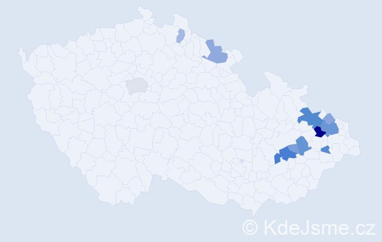 Příjmení: 'Fešar', počet výskytů 60 v celé ČR