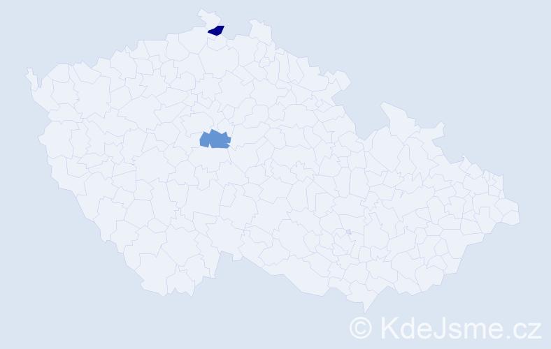 Příjmení: 'Cichocký', počet výskytů 2 v celé ČR