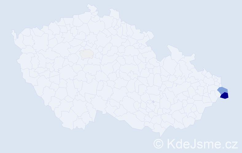 Příjmení: 'Kuźmová', počet výskytů 15 v celé ČR