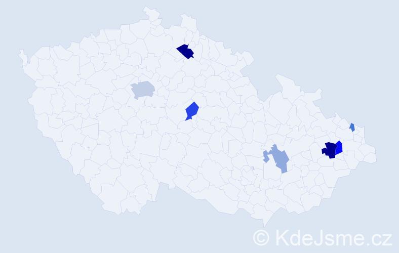 Příjmení: 'Gibová', počet výskytů 14 v celé ČR