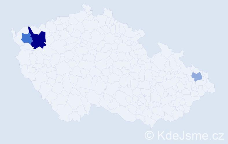 Příjmení: 'Corič', počet výskytů 4 v celé ČR