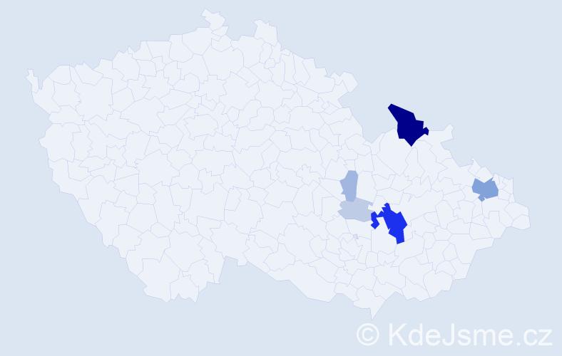 Příjmení: 'Čmela', počet výskytů 31 v celé ČR