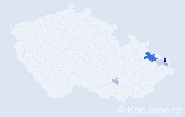 Příjmení: 'Hajdók', počet výskytů 10 v celé ČR
