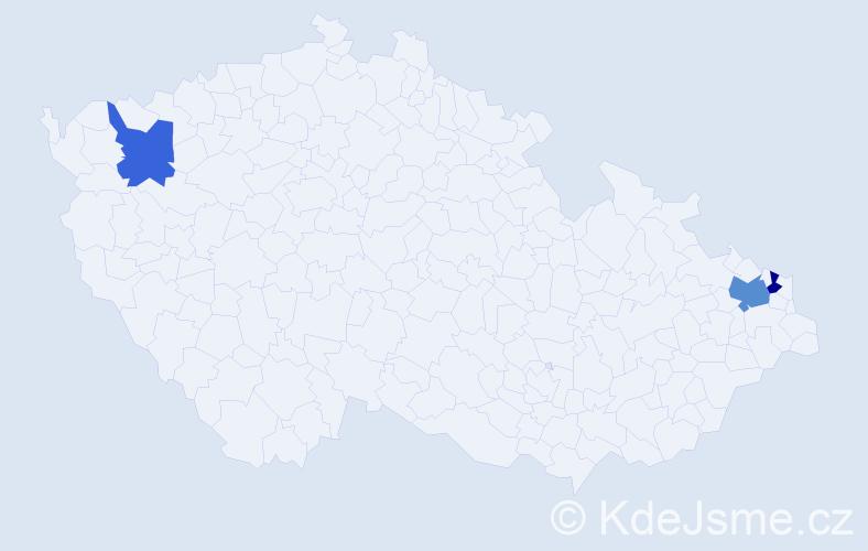 Příjmení: 'Gejguš', počet výskytů 4 v celé ČR