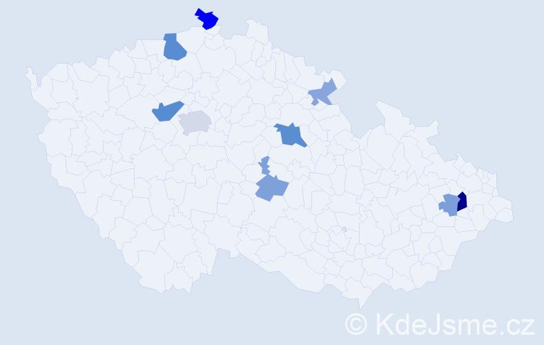 Příjmení: 'Čambál', počet výskytů 20 v celé ČR