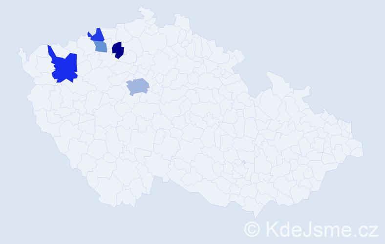 Příjmení: 'Dům', počet výskytů 9 v celé ČR