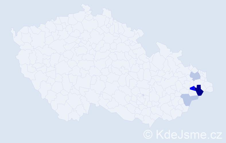Příjmení: 'Ištvanech', počet výskytů 9 v celé ČR