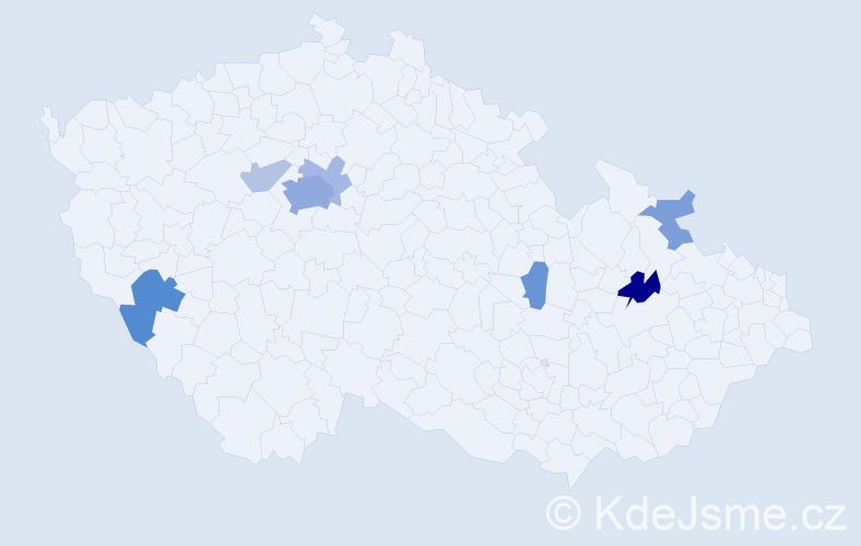 Příjmení: 'Gaidošová', počet výskytů 19 v celé ČR