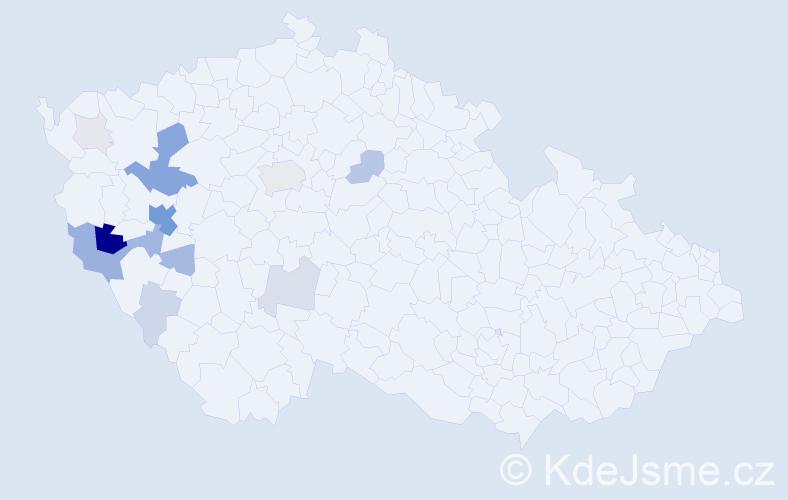 Příjmení: 'Chejlavová', počet výskytů 55 v celé ČR