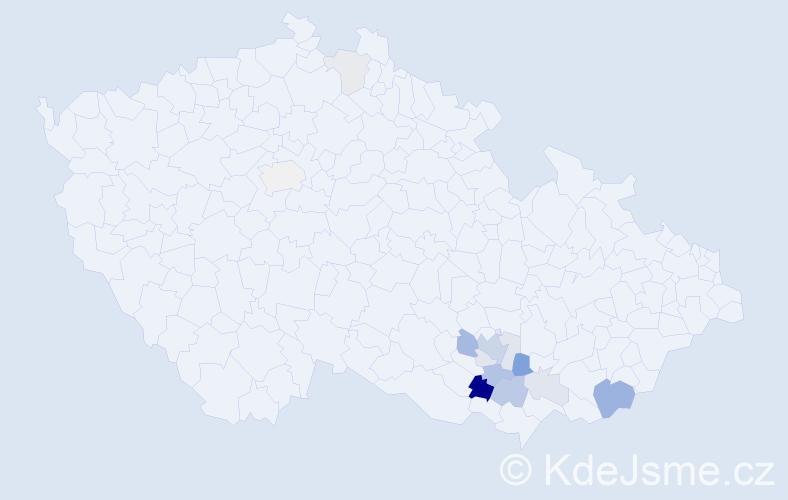 Příjmení: 'Jedounková', počet výskytů 35 v celé ČR