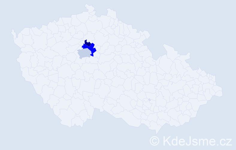 Příjmení: 'Hadžala', počet výskytů 5 v celé ČR