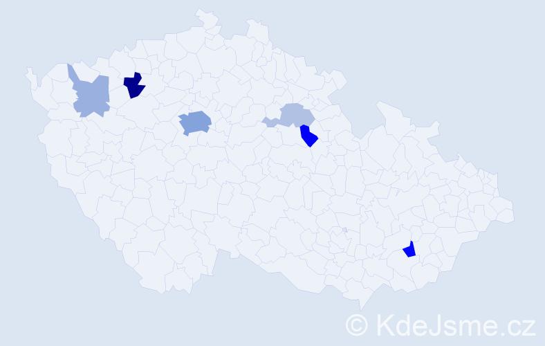 Příjmení: 'Hassman', počet výskytů 19 v celé ČR