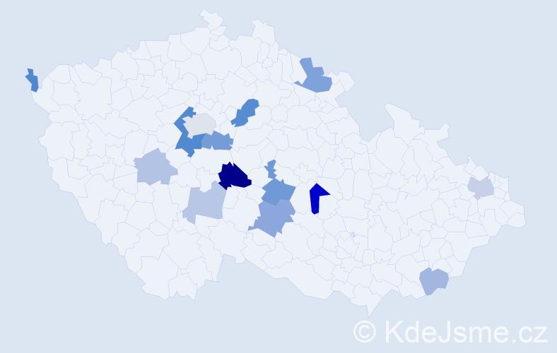 Příjmení: 'Kopper', počet výskytů 29 v celé ČR