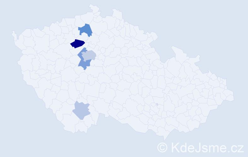 Příjmení: 'Janžura', počet výskytů 13 v celé ČR