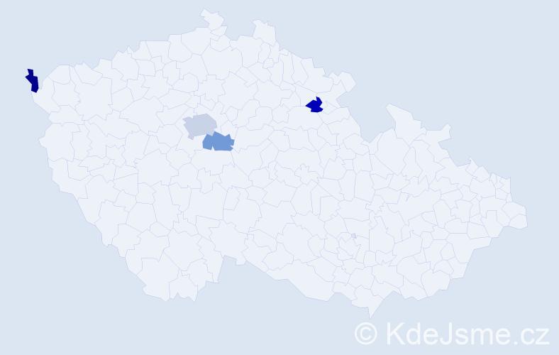 Příjmení: 'Častvaj', počet výskytů 6 v celé ČR