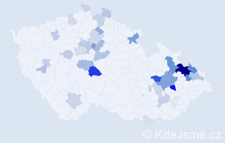 Příjmení: 'Hanel', počet výskytů 146 v celé ČR
