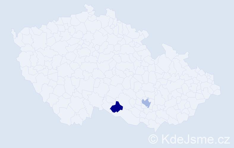 Příjmení: 'Csandal', počet výskytů 5 v celé ČR