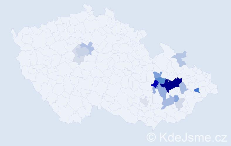 Příjmení: 'Koudeláková', počet výskytů 54 v celé ČR