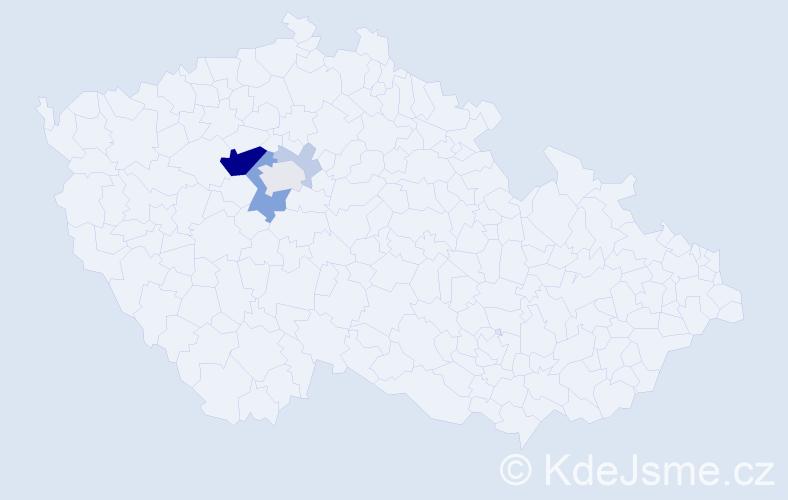 Příjmení: 'Harigelová', počet výskytů 18 v celé ČR