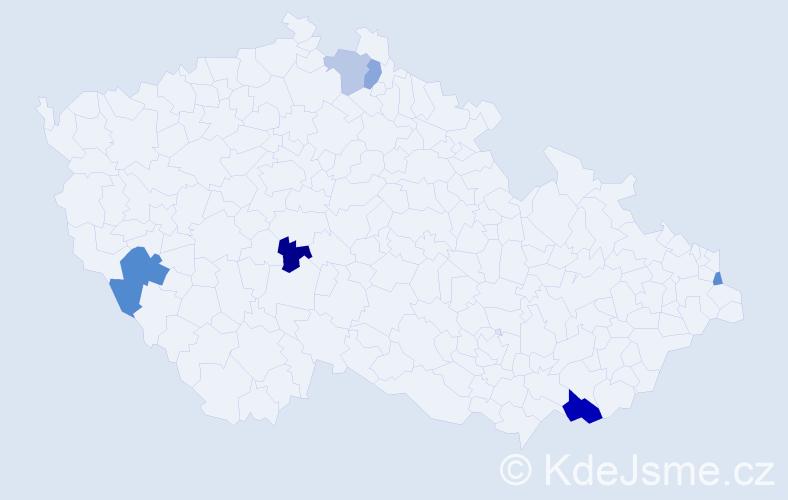 Příjmení: 'Cerinová', počet výskytů 9 v celé ČR