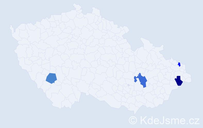 Příjmení: 'Dajka', počet výskytů 5 v celé ČR
