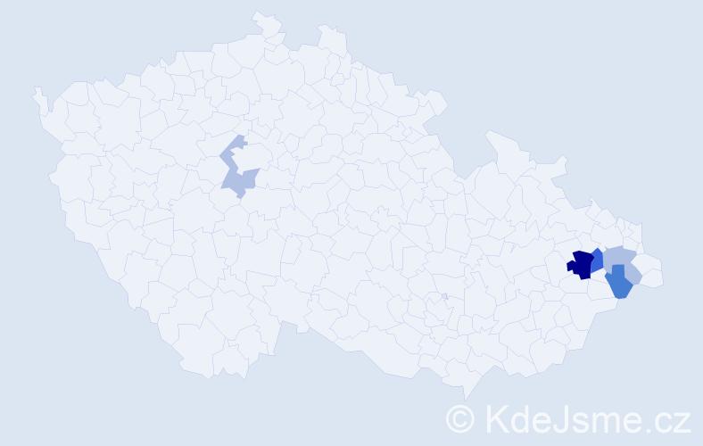 Příjmení: 'Kmeťková', počet výskytů 9 v celé ČR