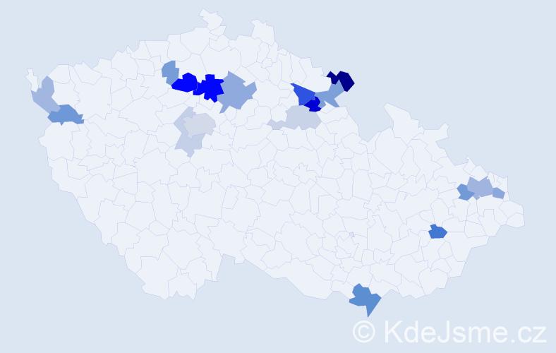 Příjmení: 'Cicáková', počet výskytů 38 v celé ČR