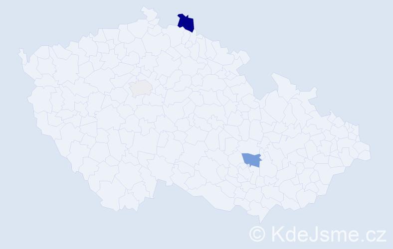 Příjmení: 'Čengerová', počet výskytů 6 v celé ČR