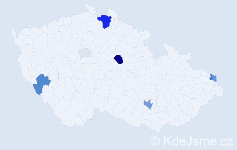 Příjmení: 'Lénártová', počet výskytů 11 v celé ČR